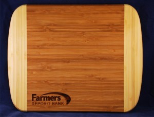 Bamboo cutting board with laser logo makes a great thank you gift. Item 102